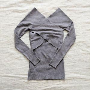 V-Neck Bandage Sweater Gray sz XS